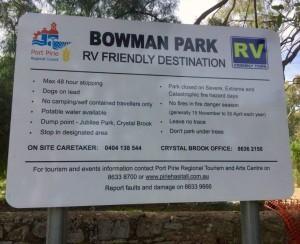 Bowman Park RV Sign