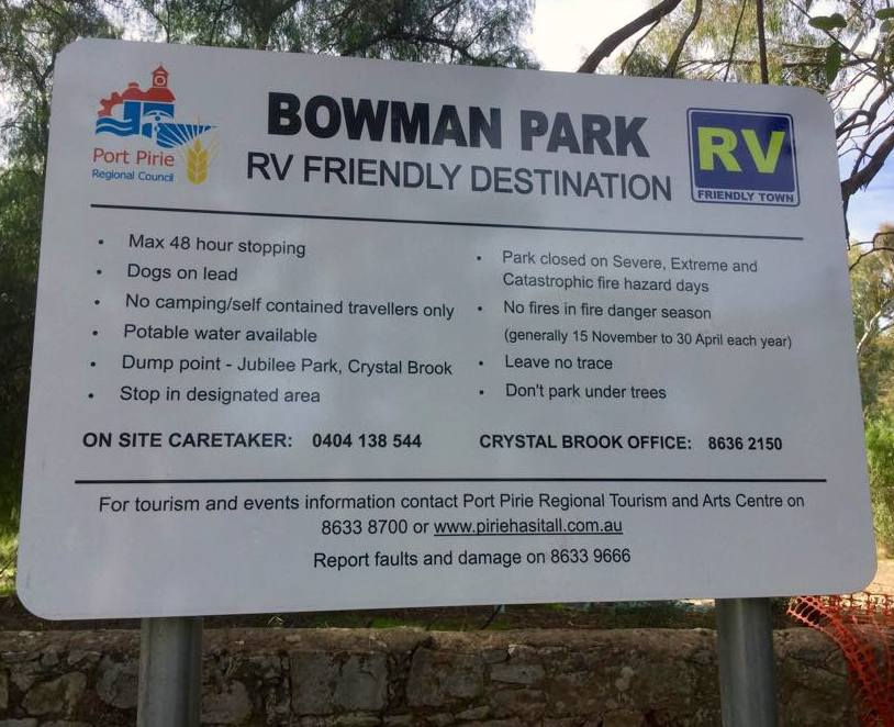 Bowman Park RV Sign